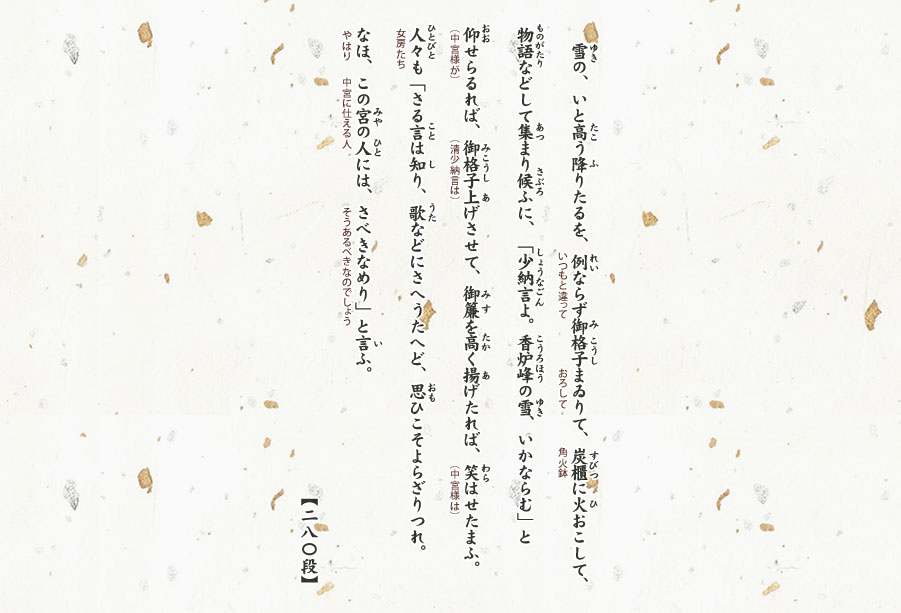 少納言よ、香炉峰の雪いかならむ 品詞分解 雪のいと高う降りたるを・枕草子 現代語訳・品詞分解ひと目でわかる