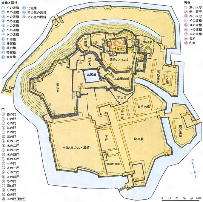姫路城の平面図[百科マルチメディア]