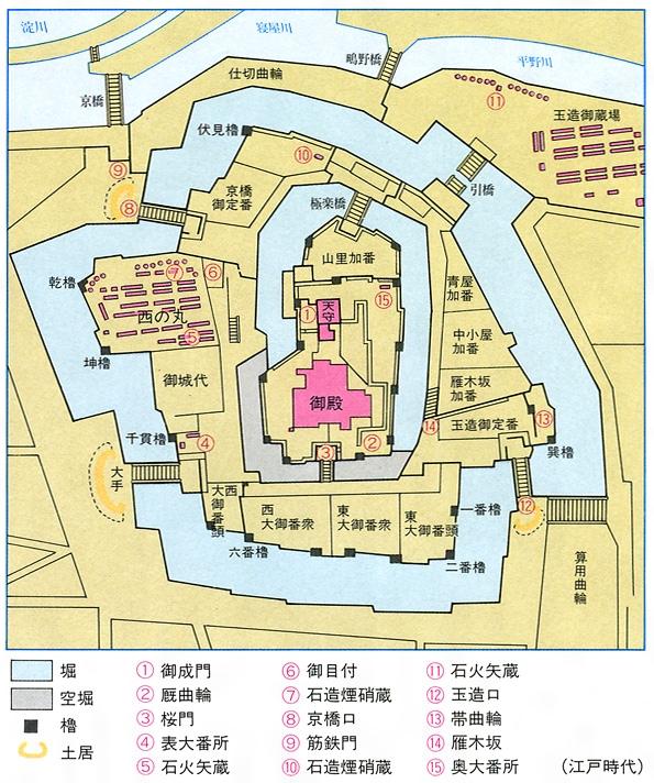 大坂城の平面図(主要部)[百科マルチメディア]