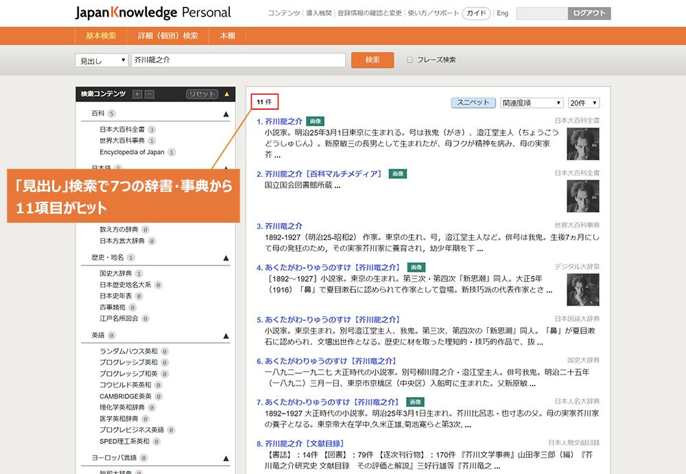 ジャパンナレッジで芥川龍之介を検索した結果
