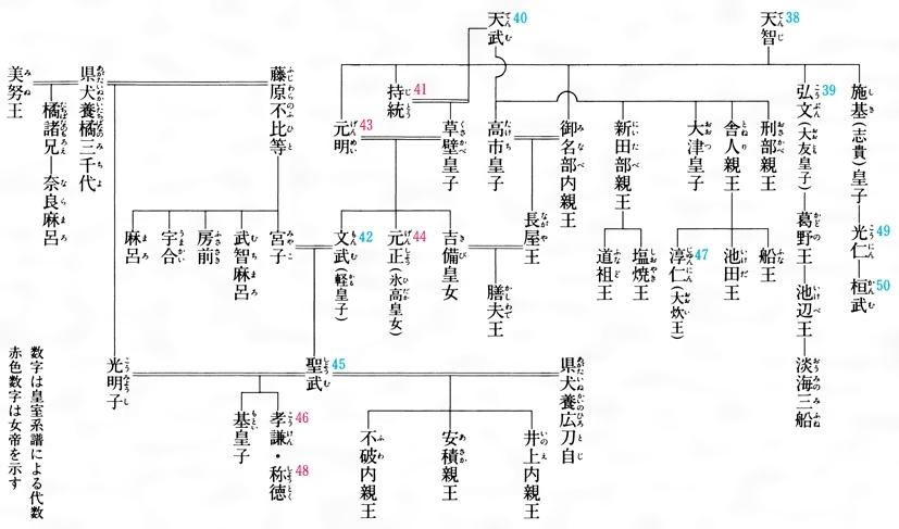 奈良時代の皇室系図[百科マルチメディア]