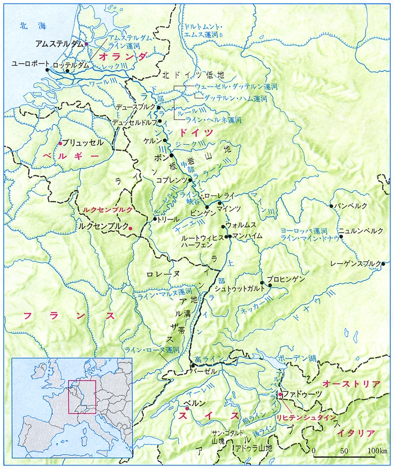 ライン川流域図[百科マルチメディア]