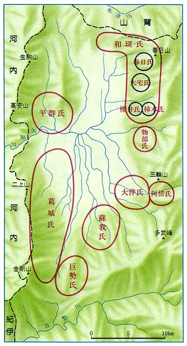 大和における豪族分布[百科マルチメディア]